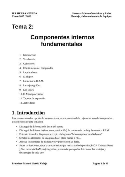 Unidad 2 Componentes Internos