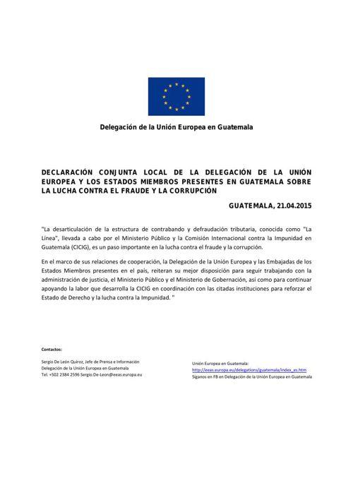 Declaración UE sobre lucha contra corrupcción fraude y apoyo a