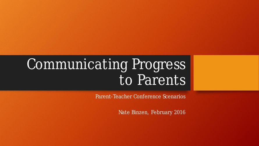 Communicating Progress to Parents