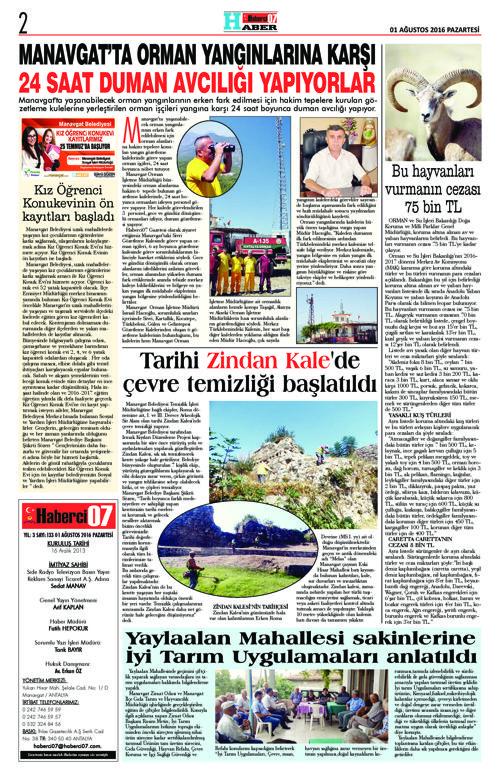 Haberci07 Gazetesi 133.Sayı 01.08.2016