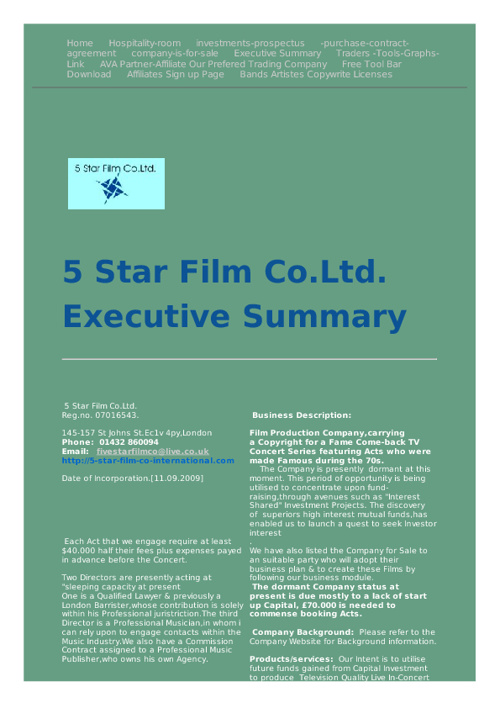 Our First Exec Summary (Unrevised)