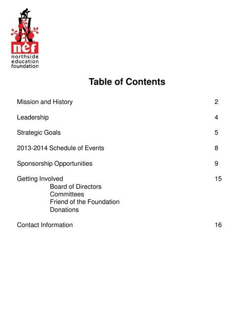 Northside Education Foundation Information Packet