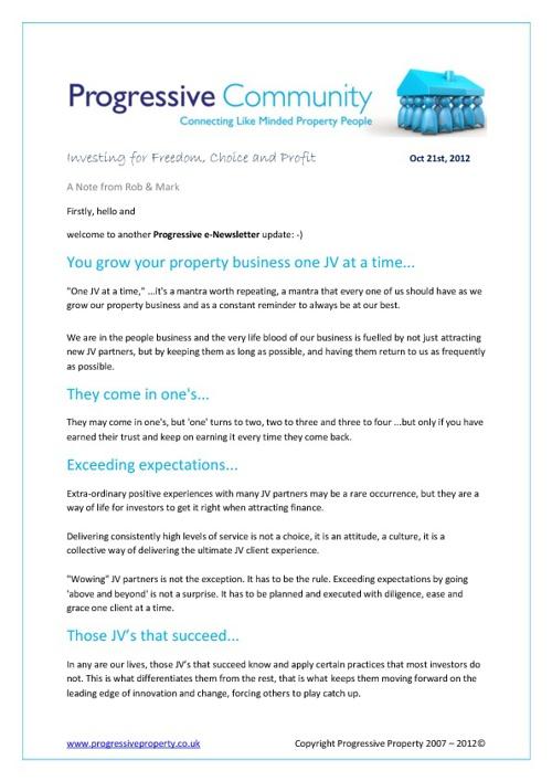 Progressive Property Newsletter, 21st October 2012