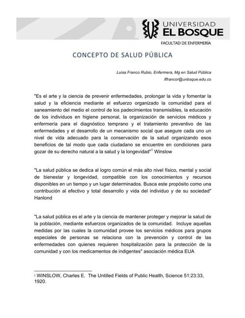CONCEPTO DE SALUD PÚBLICA