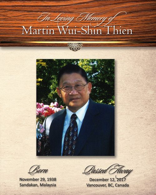 Memorial Card for Martin Thien