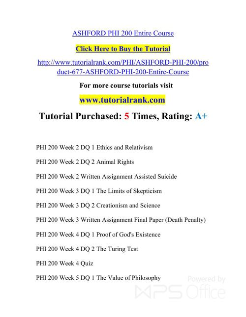 PHI 200 ASH Courses /TutorialRank