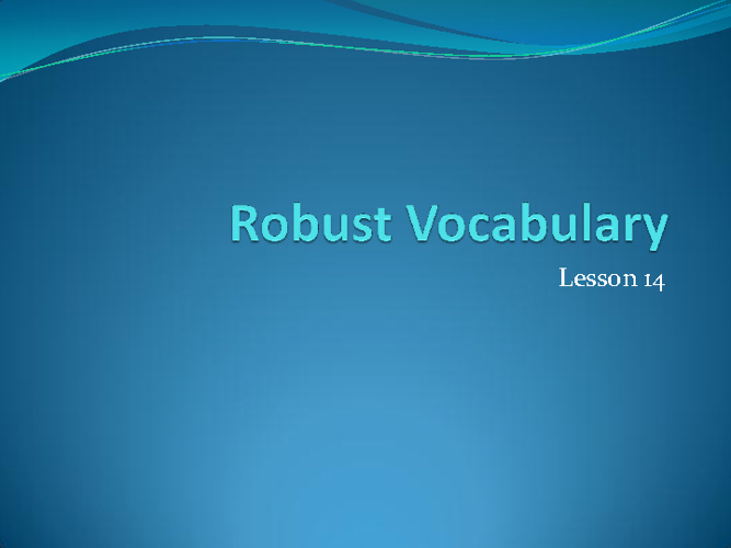 Lesson 14 Vocabulary Flipbook