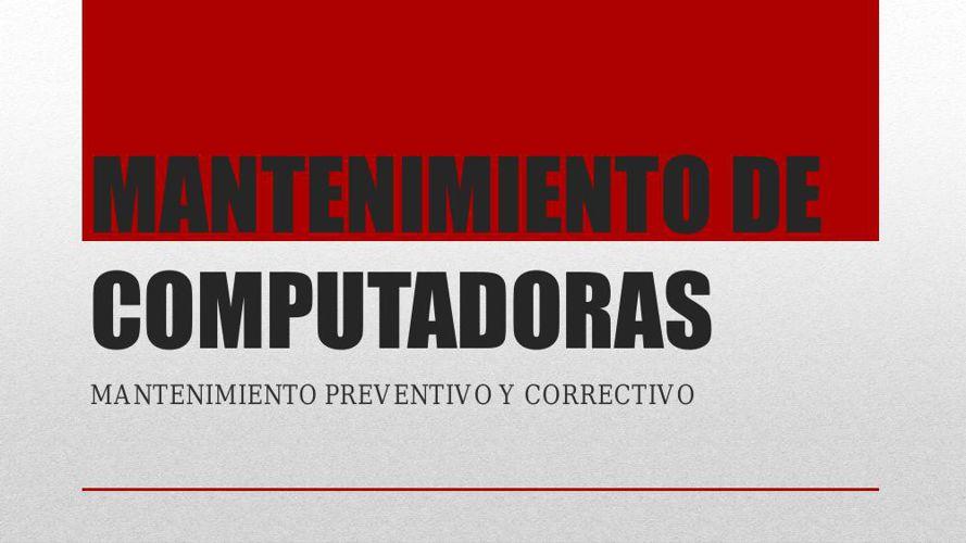 MANTENIMIENTO+DE+COMPUTADORAS