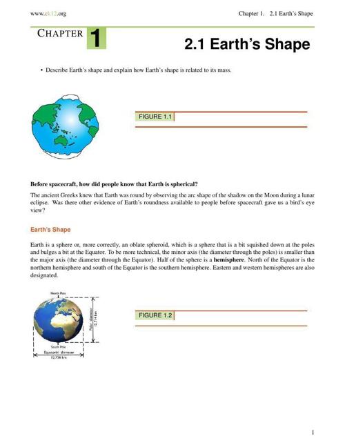 Sect 2.1 - Earth Shape