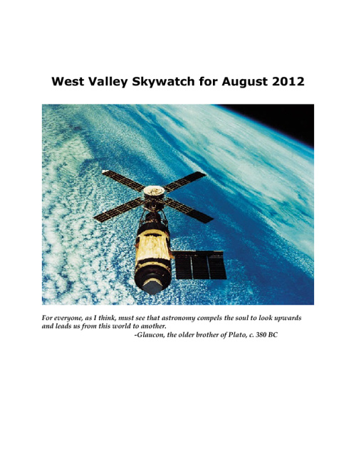 West Valley Skywatch for August 2012