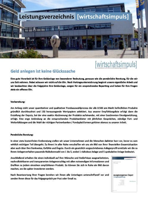 Leistungsverzeichnis Wirtschaftsimpuls GmbH