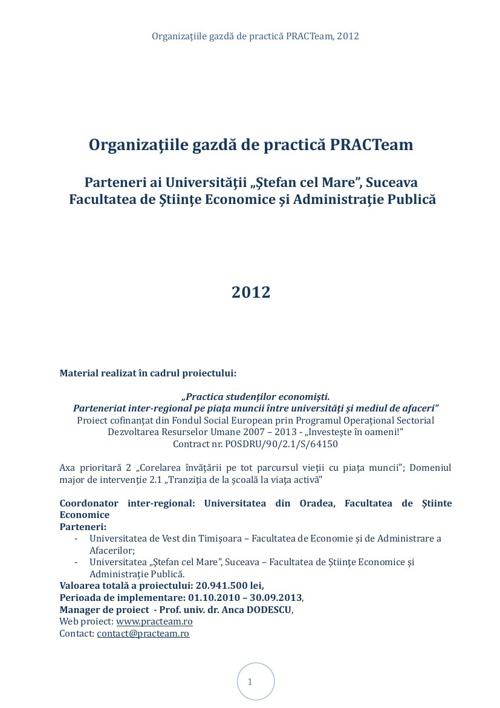 PRACTeam - Volum prezentare Organizaţii gazdă Suceava, 2012