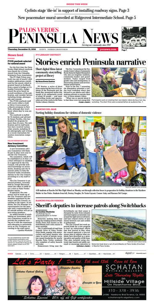 Peninsula News   December 15, 2016