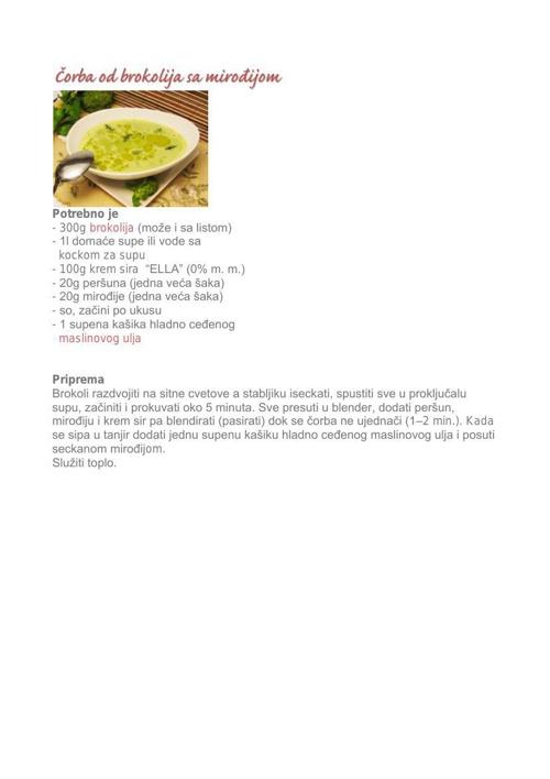 Corba od brokolija sa mirodjijom