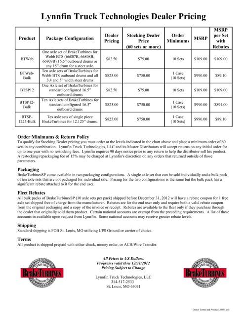 BrakeTurbines 2012 Dealer/Master Dealer Pricing