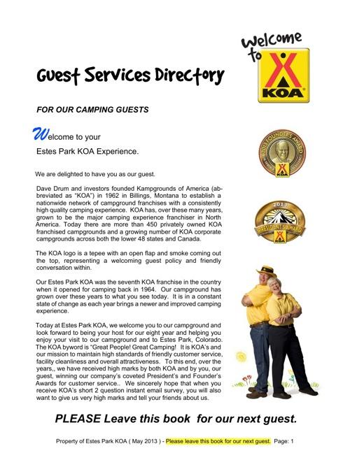 Estes Park KOA Guest Services Book