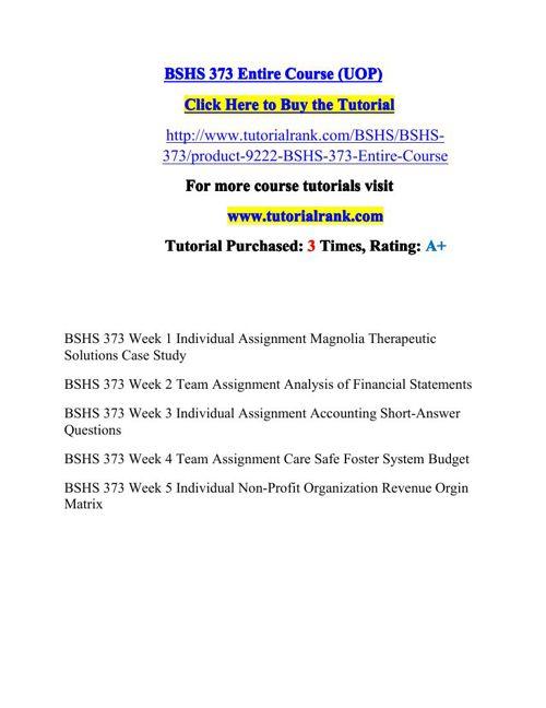 BSHS 373 Potential Instructors / tutorialrank.com