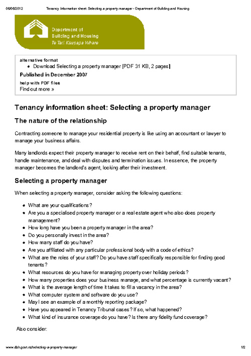 Selecting a property manager