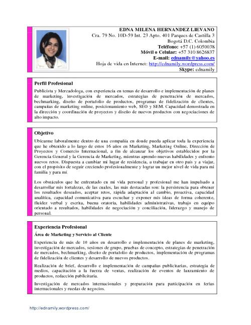 Curriculum Vitae Edna Milena Hernandez Lievano