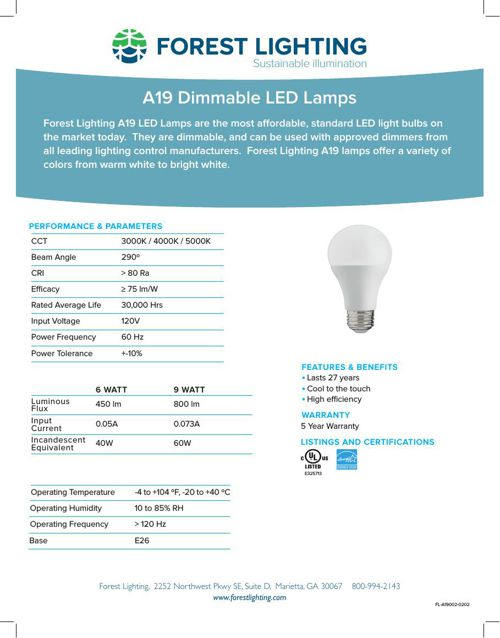 A19 Dimmable LED Lamps - Complete Specification