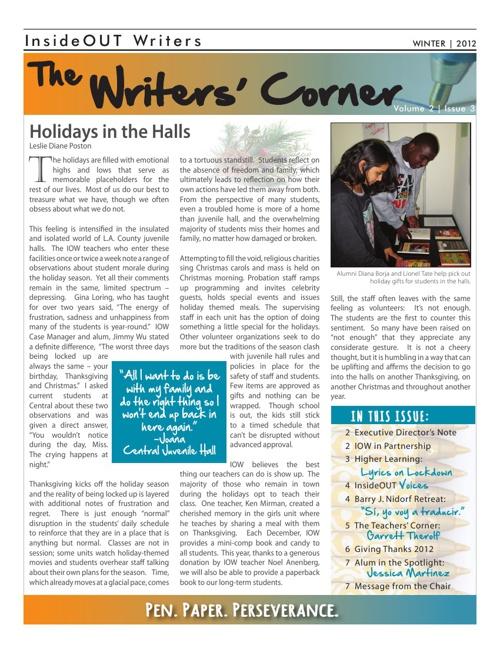 Writers Corner Vol2 Iss 3 Winter 2012