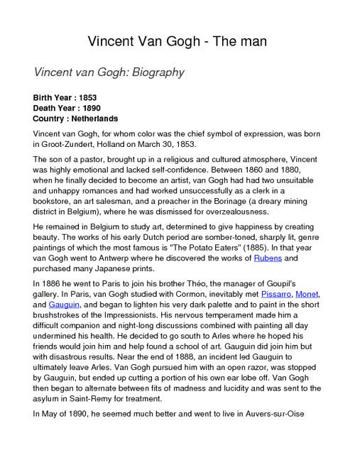 Vincent Van Gogh  - The Man
