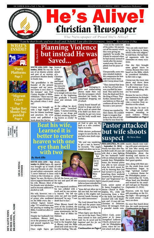 HES ALIVE CHRISTIAN NEWS & VIEWS October 2016 edition