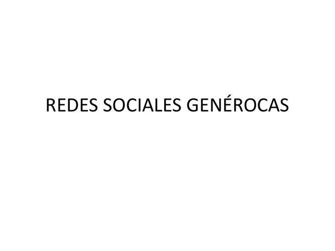 REDES SOCIALES GENÉROCAS