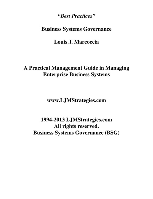 Business Systems Governance (BSG) 15 Pages
