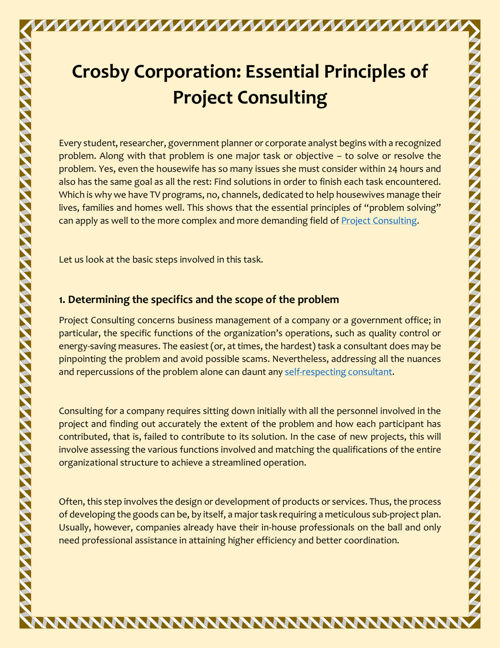 Principles of Project Consulting by Crosby Corporation