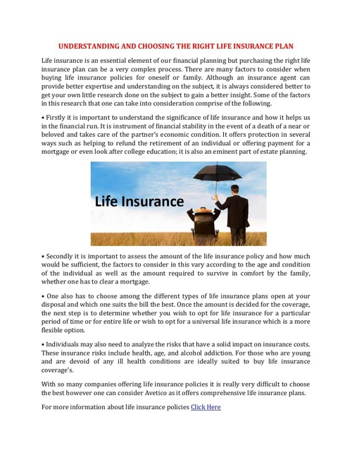 UNDERSTANDING AND CHOOSING THE RIGHT LIFE INSURANCE PLAN