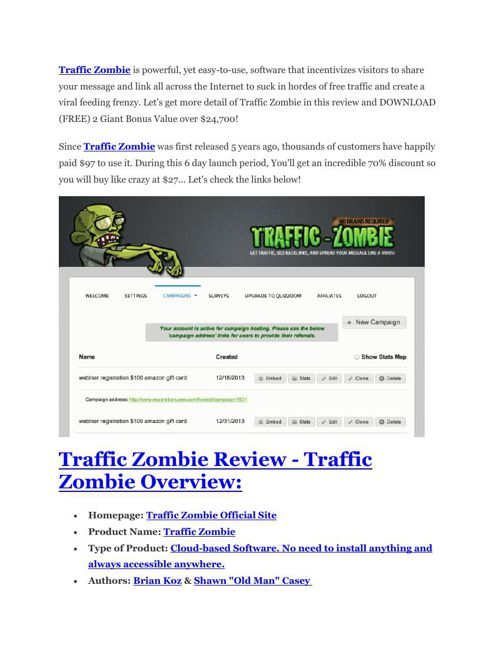 Traffic Zombie Review and $30000 Bonus – Traffic Zombie 80% DISC