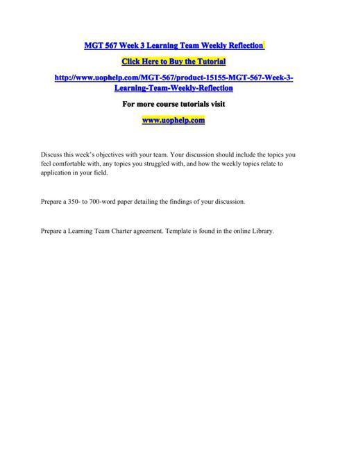 MGT 567 Week 3 Learning Team Weekly Reflection