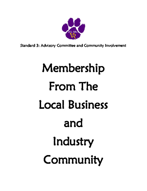 Standard 3: #34 #35 Membership from the Local Bus and Ind Comm