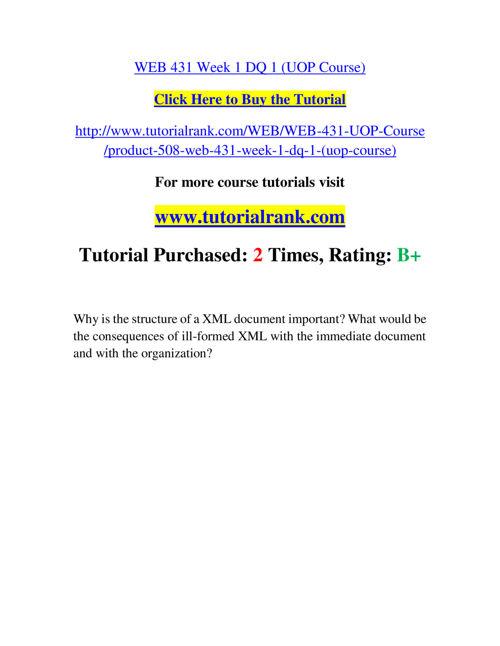 WEB 431 Slingshot Academy / Tutorialrank.Com