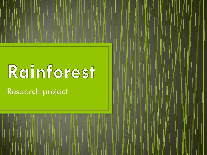 Rainforest task
