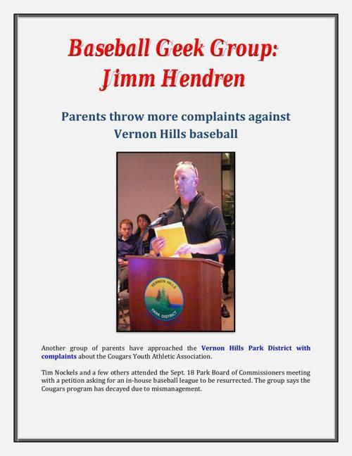 Baseball Geek Group: Jimm Hendren - Parents throw more complaint