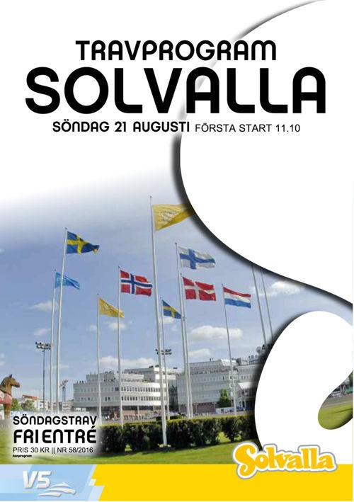 Solvalla travprogram 21 Augusti 2016