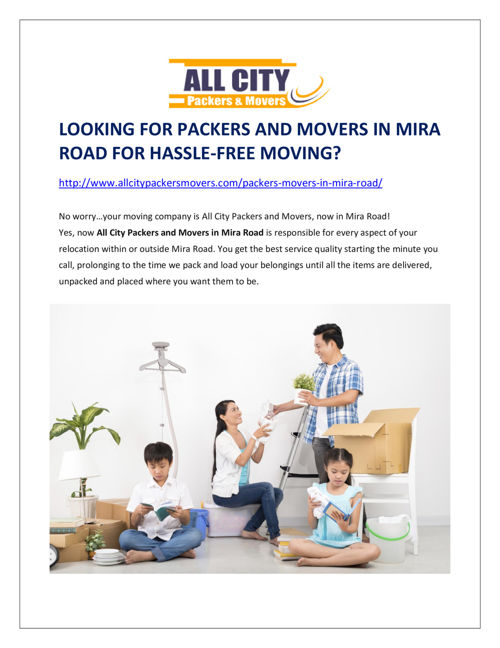 Looking for Packers and Movers in Mira Road for Hassle-Free