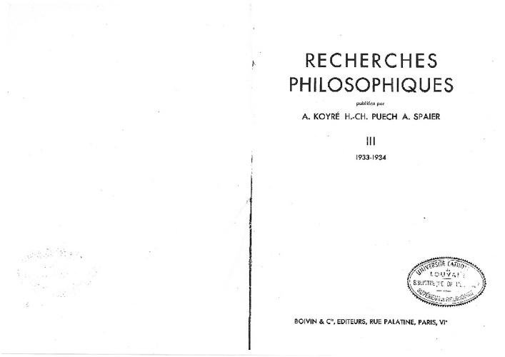 Pseudo-MAGRÎTÎ Compte-rendu, recherches philosophie 1933-1934