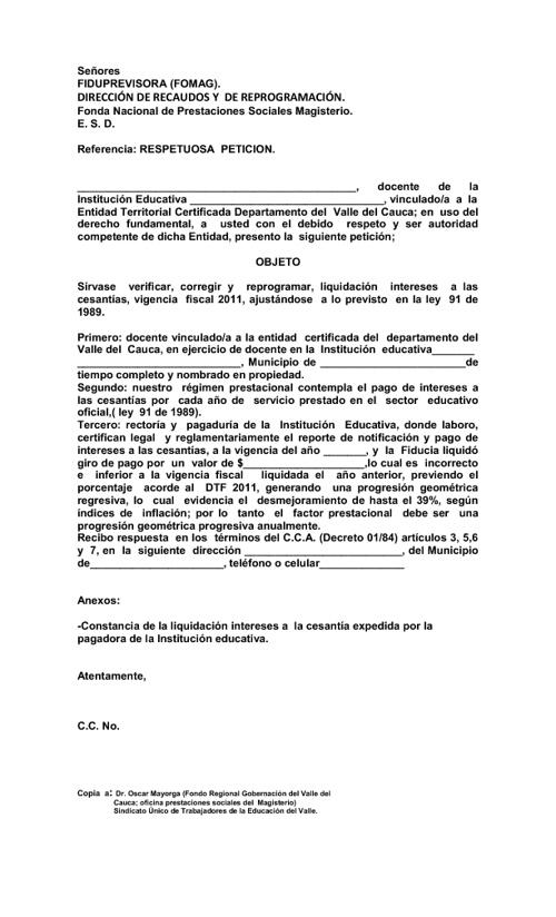 DERECHO DE PETICION CESANTIAS MAL LIQUIDADAS