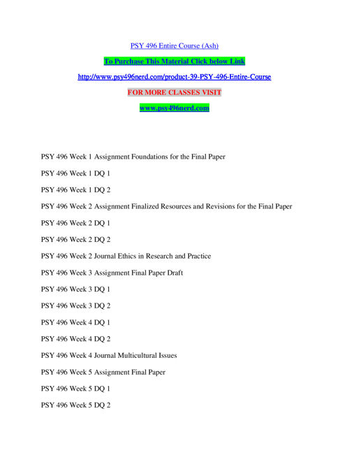 PSY 496 Entire Course (Ash)