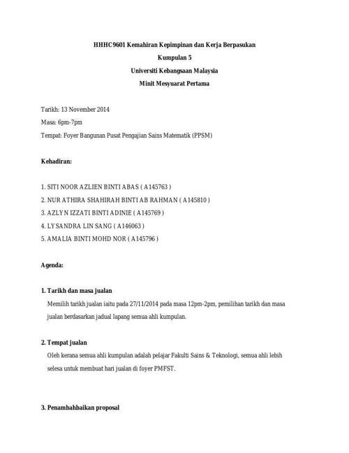 HHHC9601 Kumpulan 5 Minit Mesyuarat 1