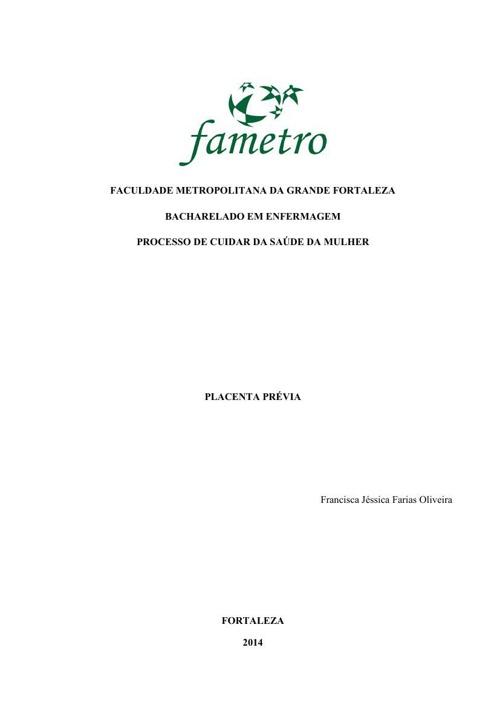 Estudo de Caso Placenta Prévia