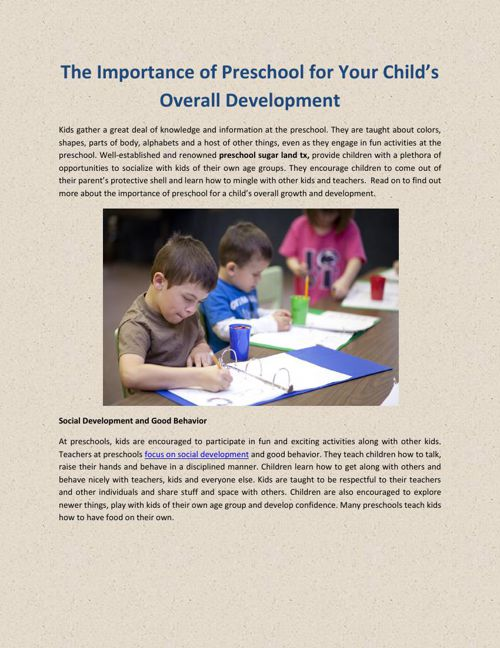 The Importance of Preschool for Your Child_s Overall Development
