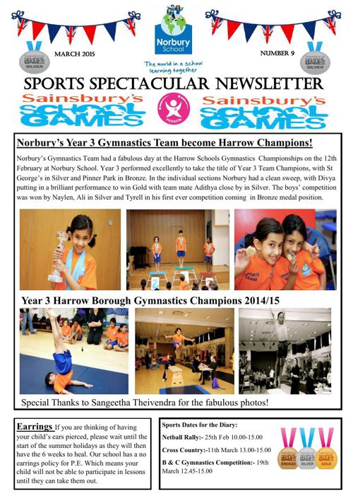 Sports Newsletter Number 9