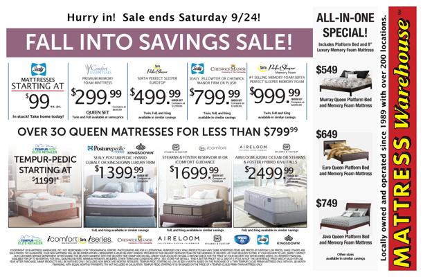 fall into savings at mattress warehouse