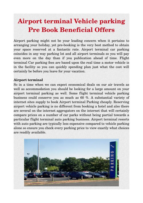 Airport terminal Vehicle parking Pre Book Beneficial Offers