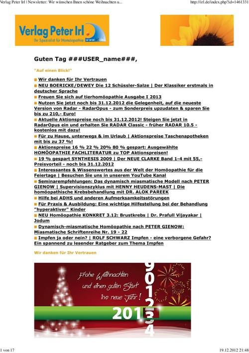 IRL Homöopathie Newsletter 51 2012