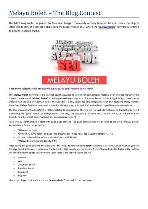 Melayu Boleh - SEO Contest